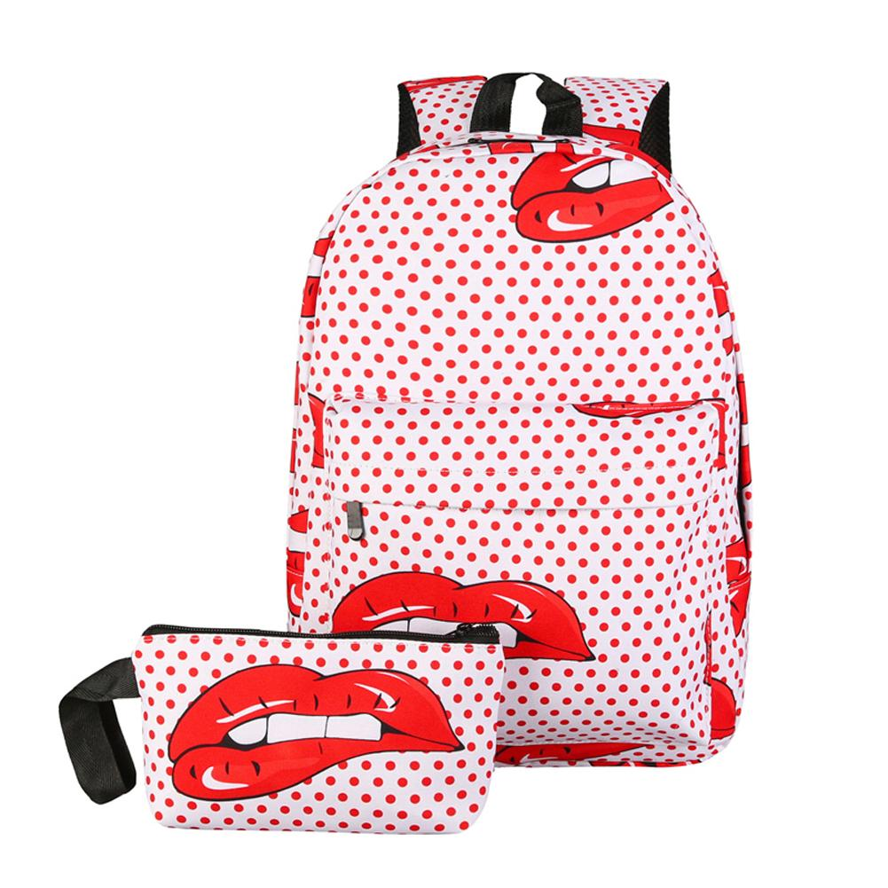 $19.36- 2Pcs Candy Color Printing Backpack Women Nylon Travel Red Lip Design Ladies School Bags For Teenager Girls	Mochila Escolar