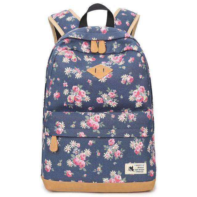 $35.08- Aolida Fashion Canvas Printing Women Bag Backpack School Bags For Girls Casual Laptop Backpack Woman Mochila W/ Flowers