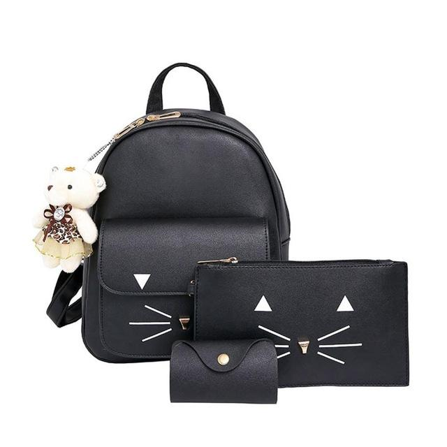 $23.76- Famous Brand Women Backpack Pu Leather Bowknot Backpacks For Girls School Bags W/ Purse Bear Sac A Dos