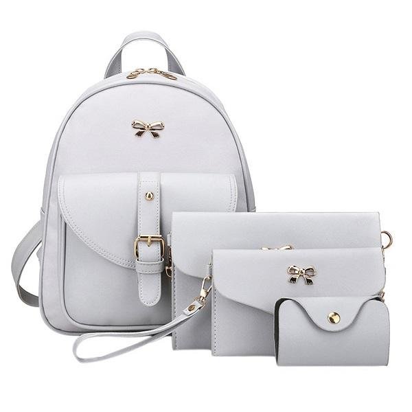 $28.73- Famous Brand Women Backpack Pu Leather Bowknot Backpacks For Girls School Bags W/ Purse Bear Sac A Dos