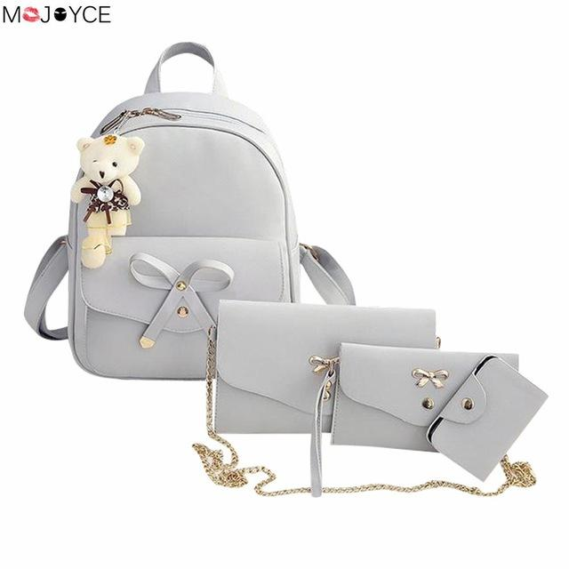 $24.84- Famous Brand Women Backpack Pu Leather Bowknot Backpacks For Girls School Bags W/ Purse Bear Sac A Dos