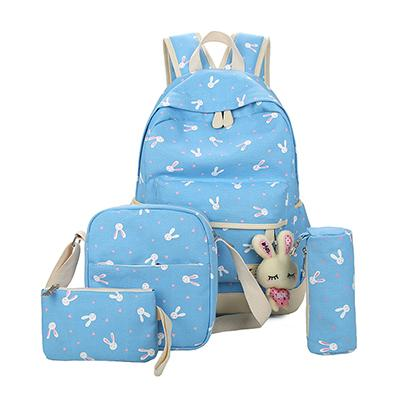 $36.54- Preppy Style 4Pcs/Sets Backpack School Bags Cute Rabbit Backpacks For Teenage Girls High Quality Canvas Printing Backpack Female