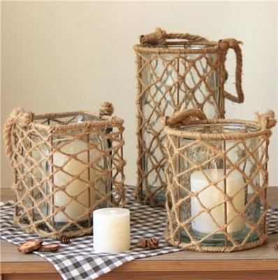 $41.15- Modern Glass Lantern Candle Stand Hemp Rope Portable Candle Holder Table Romantic Home Decoration Big Tealight Candle Holder