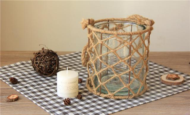 $56.99- Modern Glass Lantern Candle Stand Hemp Rope Portable Candle Holder Table Romantic Home Decoration Big Tealight Candle Holder