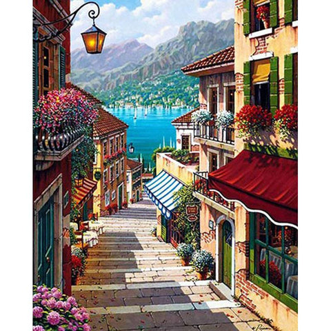 $13.11- Frameless Romantic Town DIY Painting By Numbers Kits Landscape Modern Wall Art Canvas Painting For Home Decor 40x50cm Artworks