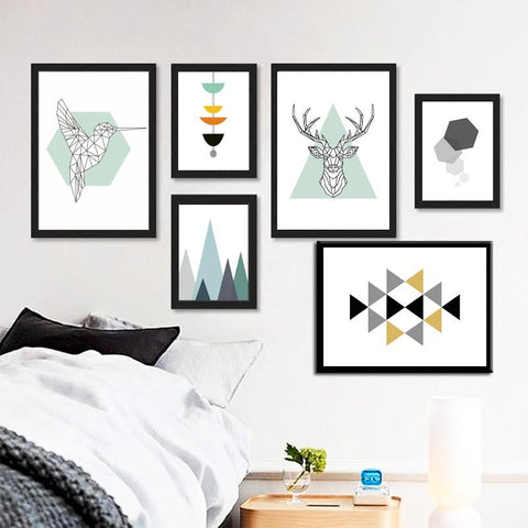 $7.41- Nordic Style Abstract Geometry Figure Animals Canvas Print Painting For Art Home Wall Art Diy Decoration Art Posters No Frame