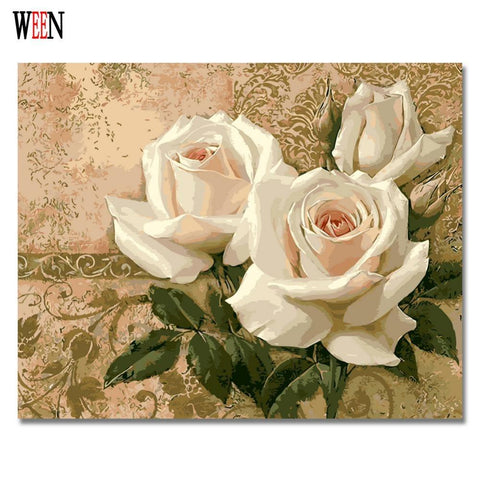 $28.78- Ween Rose Flower Pictures By Numbers Diy Digital Hand Painted Wall Art For Home Decor Coloring By Numbers Acrylic Artwork