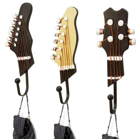 $54.37- 3pcs/set 3 Hooks Vintage Resin Music Guitar Stainless Steel Chrome Robe Hooks Wall Hanger Brand Bathroom Wall Hanger