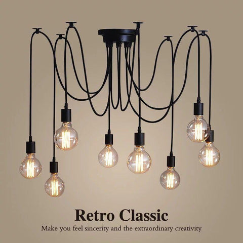 $45.79- Diy Retro Edison Lamp Chandelier Lighting Spider Shape Nordic Loft Style Vintage Home Lights Lamparas De Techo Prestigio