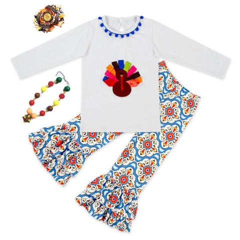 $30.58- Baby Girls Outfits Thanksgiving Baby Kids Boutique Baby Girl Kid Thanksgiving Outfits Turkey Set W/ Matching Necklace Bow