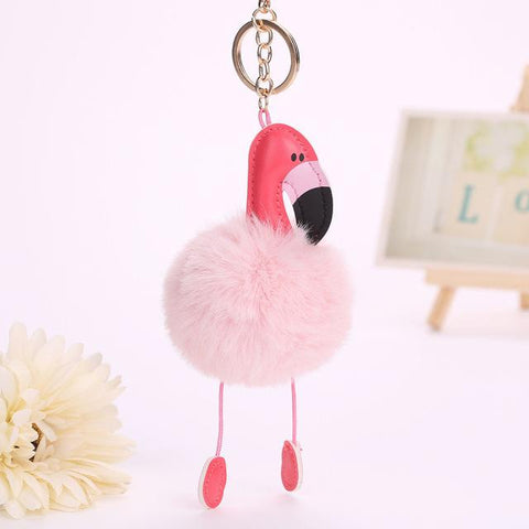 $4.05- Nordic Cute Flamingo Keychain Women Kids Bag Hanging Pendant Decoration Crafts Pu Leather Children Room Wall Hanging Toy Gift