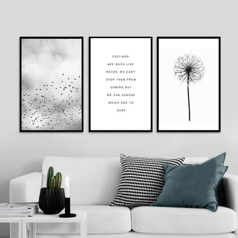 $7.70- Abstract Landscape Quotes Canvas Painting Black White Poster Print Nordic Wall Art Picture For Living Room Home Decor Unframed