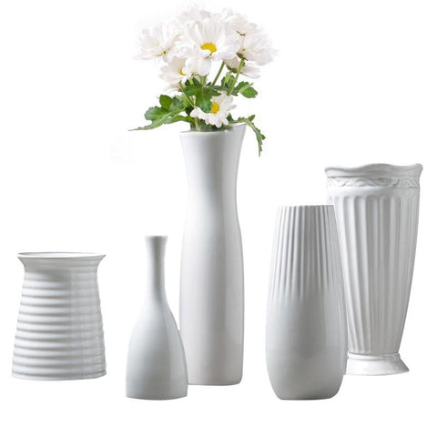 $17.78- Classic White Ceramic Vase Chinese Arts Crafts Decor Contracted Porcelain Flower Vase Creative Gift Household Decoration