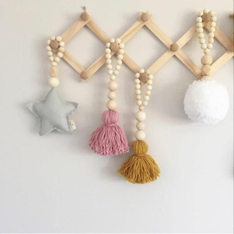 $3.40- Guuuuo Natural Wooden Beads Garland Home Decor Kid Room Wall Haning Decorations Best Gifts For Children Nordic Handmade Ornament
