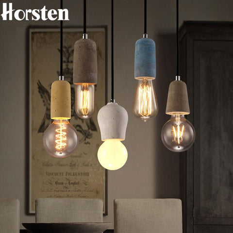 $41.84- E27 Nordic Minimalism Loft Art Concrete Led Pendant Light For Creative Personality Industrial Cafe Restaurant Hanging Lamp