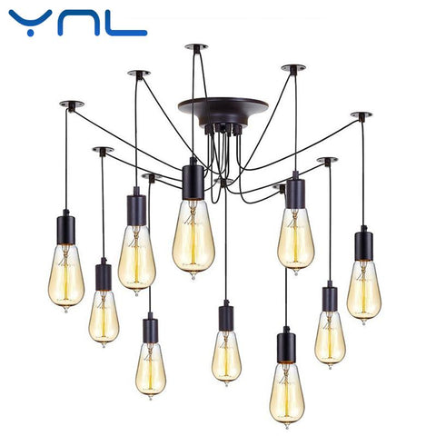 $50.38- Ynl Modern Nordic Retro Edison Bulb E27 2 Meters Line Vintage Lamps Antique Diy Art Spider Pendant Lights Home Suspension