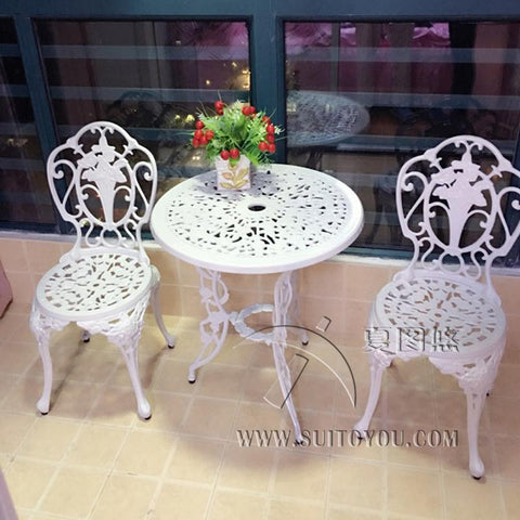 3Piece White Bistro Patio Set Table 2 May Chairs Set Furniture Garden Outdoor Seat