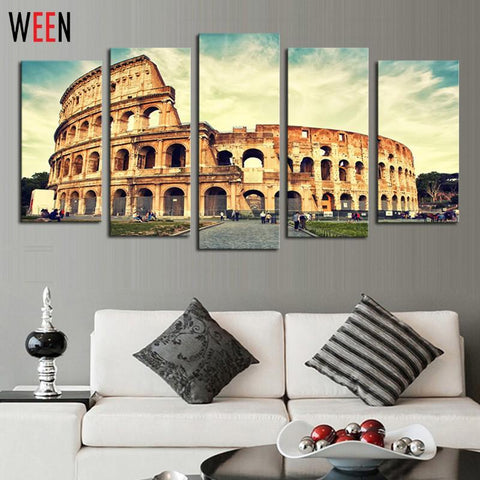 $35.59- 5 Panels Roman Colosseum Canvas Artwork Wall Art For Home Decoration Modern Roman Pictures Poster No Frame Arts The Paintings