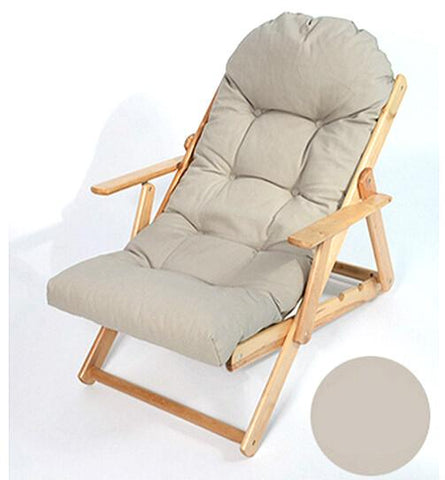 $513.93- Soft Folding Foldable Wooden Reclining Chair Simple Ergonomic Lazy Sofa Balcony Couch Leisure Chair Thickened Cushion cadeira