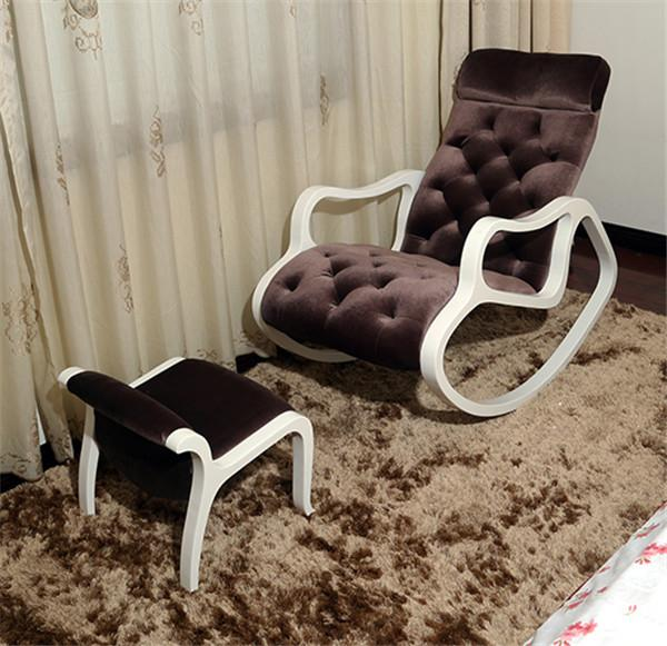 $490.36- Fabric Upholstered Chaise Lounge W/ Footstool Set White Finish Wood Living Room Furniture Modern Rocking Chair Lazy Lounger