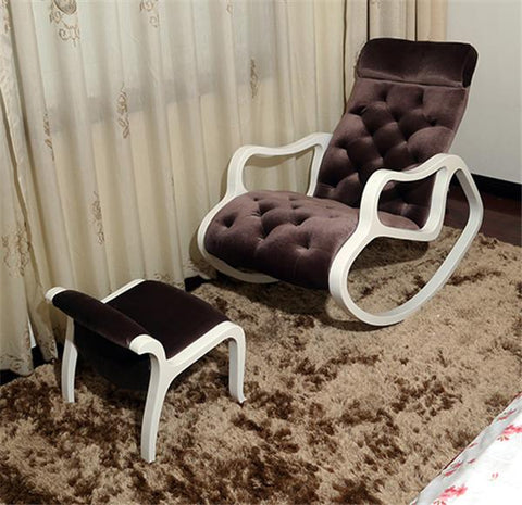 Fabric Upholstered Chaise Lounge W/ Footstool Set White Finish Wood Living Room Furniture Modern Rocking Chair Lazy Lounger