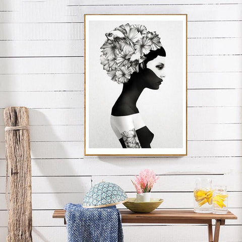 $9.50- Nordic Decoration Flower Posters Prints Girl Canvas Prints Wall Art Canvas Painting Wall Pictures For Living Room Unframed