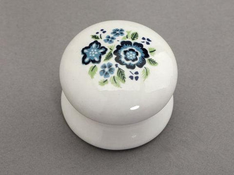 Ceramic Knobs White Blue / Shabby Chic Dresser Drawer Handles / French Country Kitchen Cabinet Knobs Pull Handle Hardware