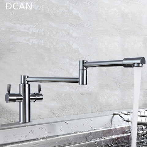 $123.40- DCAN Kitchen Faucets Kitchen Sink Faucets Dual Handle Mixer Tap Chrome Finish Pot Filler Faucet 100% Brass Folding Faucet
