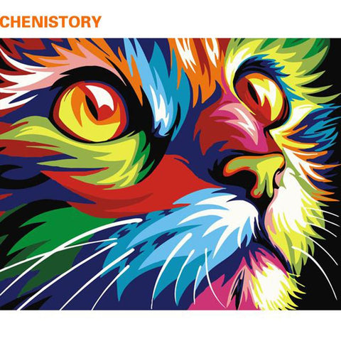 $15.29- Chenistory Frameless Cat Animals Diy Painting By Numbers Kits Coloring By Numbers Unique Gift Home Wall Art Decor 40X50 Artwork