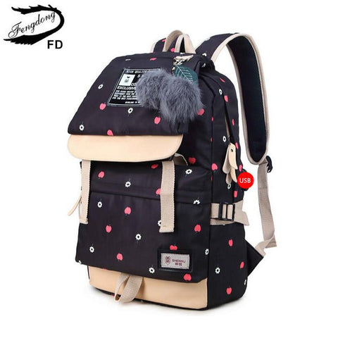 $50.98- Fengdong Ball Decoration School Bags For Girls Kids Black Canvas Backpack Children Backpacks Usb Bag Cute Backpack For School