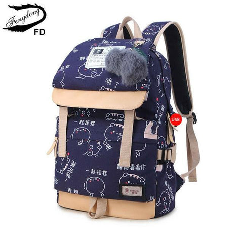 Fengdong Ball Decoration School Bags For Girls Kids Black Canvas Backpack Children Backpacks Usb Bag Cute Backpack For School