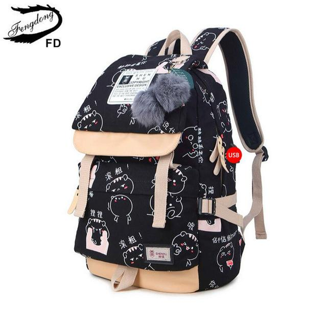 Buy Fengdong Ball Decoration School Bags For Girls Kids Black Canvas