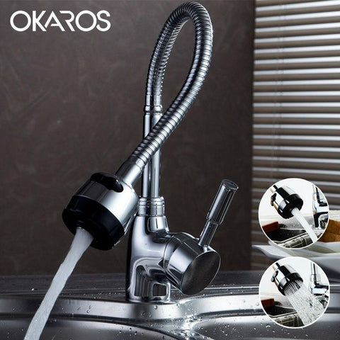 $100.28- OKAROS Kitchen Sink Faucet Chrome Finished Pull Down Single Handle Flexible Folding Water Tap Mixer Bathroom Faucet Torneira