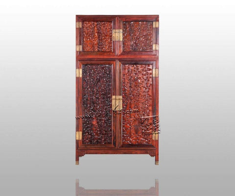 Antique Retro Rosewood Wardrobe Bedding Room Solid Wood Furniture Flat 2 Sliding Door Closet Padauk Garderobe Chinese Classical