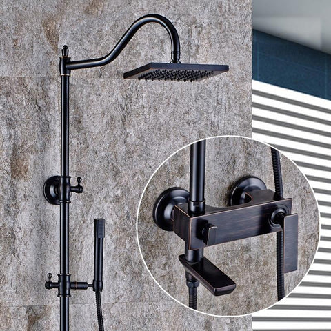 $418.20- Luxury Oil Rubbed Bronze Bathtub Shower Set Mixer Tap Faucet Antique Rain Shower Head Bathroom Adjust Height Handheld Shower