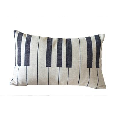 $6.82- Nordic Piano Keyboard Black White Lumbar Cushion Cover Linen Piano Keys Throw Pillows Case Funky Black White Music