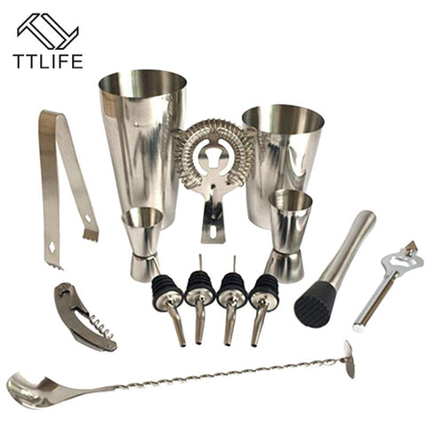 $54.79- Ttlife Premium Shaker Barware Set 13 Pieces Bartender Kit Includes Shaker Rack Spoon Pourer Straw Ice Tong Cocktail Shaker