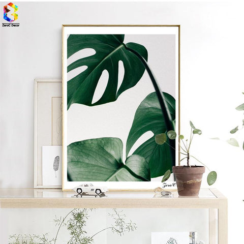 $11.00- Nordic Fresh Palm Posters Prints Wall Art Canvas Painting Pictures For Living Room Scandinavian Monstera Leaf Home Decor