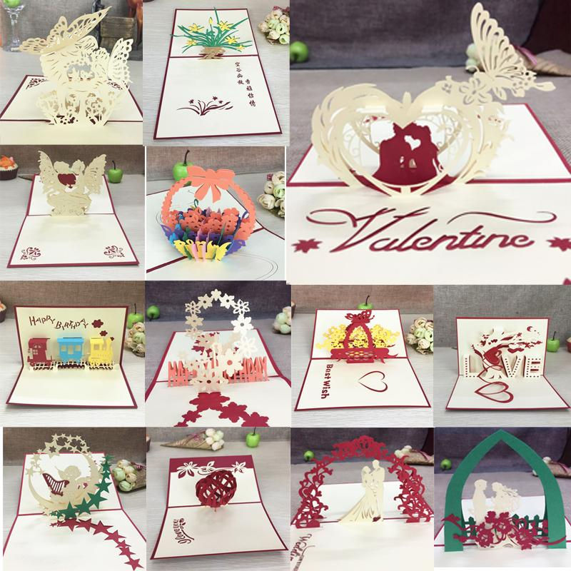 $2.71- 1Pcs Handmade 3D Laser Cut Paper Greeting Pop Up Kirigami Card Wedding Invitation Valentine'S Day Postcards Thanksgiving Gifts