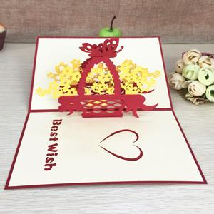 $3.04- 1Pcs Handmade 3D Laser Cut Paper Greeting Pop Up Kirigami Card Wedding Invitation Valentine'S Day Postcards Thanksgiving Gifts