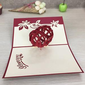 $2.88- 1Pcs Handmade 3D Laser Cut Paper Greeting Pop Up Kirigami Card Wedding Invitation Valentine'S Day Postcards Thanksgiving Gifts