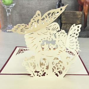 $2.55- 1Pcs Handmade 3D Laser Cut Paper Greeting Pop Up Kirigami Card Wedding Invitation Valentine'S Day Postcards Thanksgiving Gifts