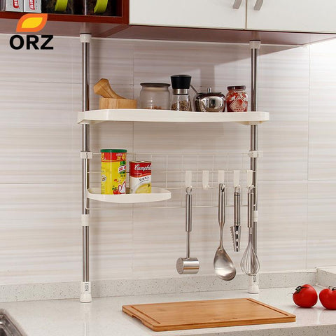 $74.73- Orz Kitchen Adjustable Shelf Creative Seasoning Condiment Pot Holder Cooking Utensil Hanger Kitchen Organizer Storage Rack