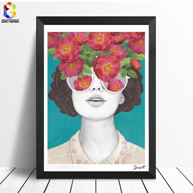 $10.10- Zeroc Nordic Posters Prints Flower Girl Portrait Wall Art Canvas Painting Pictures For Living Room Scandinavian Home Decor
