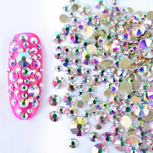 1 Pack Mix SS3SS16 Crystal Clear AB Opal White Non Hotfix Flatback Nail Rhinestones 3D Charm Strass Gems Nail Art Decorations