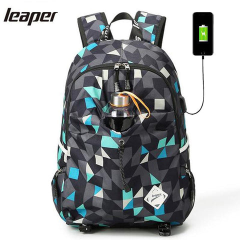 $44.28- Leaper Men Backpack Usb Charge School Bags For Teenagers Designer Laptop Backpack Student College Travel Large Backpack Women