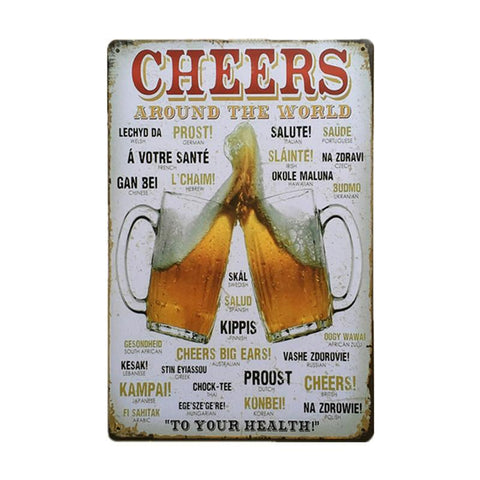 $9.88- Coffee Bar Decoration Vintage Metal Tin Signs 30X20Cm Wine Beer Iron Plate Shabby Chic Pub Decor Tin Poster On Wall Decorative
