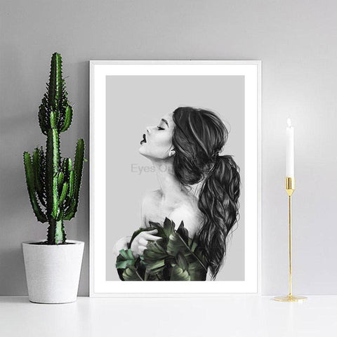 $10.24- No Frame Originality Plant Figure Painting Scandinavian Poster Canvas Painting Wall Picture Print Nordic Art Home Decor F01