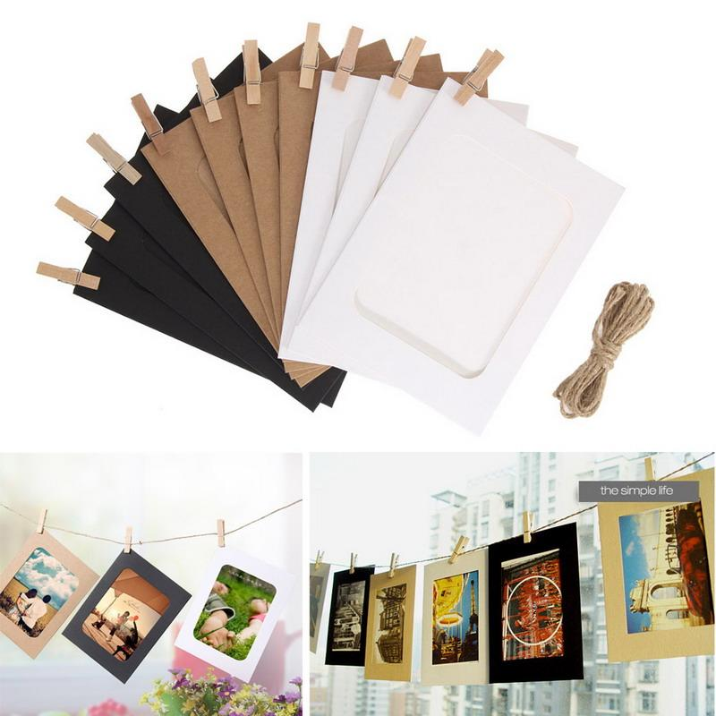 $4.35- 3/5/6 Inch Diy Combination 10Pcs Wall Photo Frame W/ 10Pcs Clips Rope Diy Hanging Wall Picture Album Kraft Home Decoration