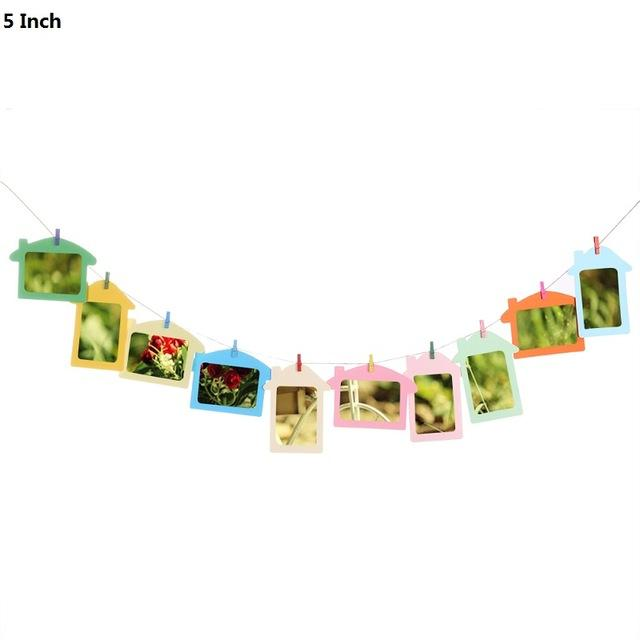 $5.36- 3/5/6 Inch Diy Combination 10Pcs Wall Photo Frame W/ 10Pcs Clips Rope Diy Hanging Wall Picture Album Kraft Home Decoration